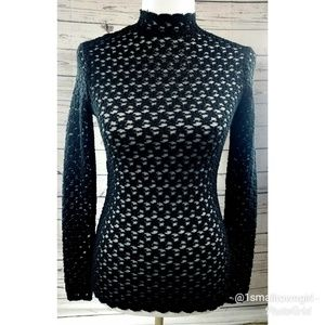 Alberto Maliki sheer mock neck sweater black S